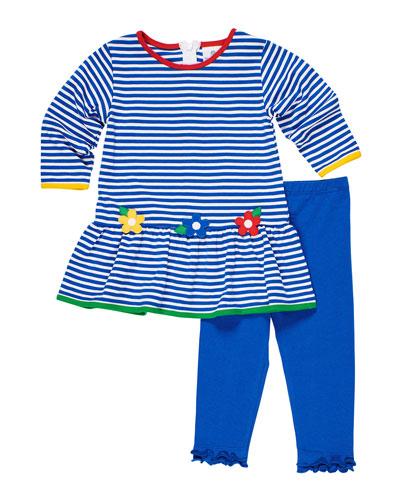 Stripe Knit Flower Applique Dress w/ Ruffle Trim Leggings  Size 2-6X