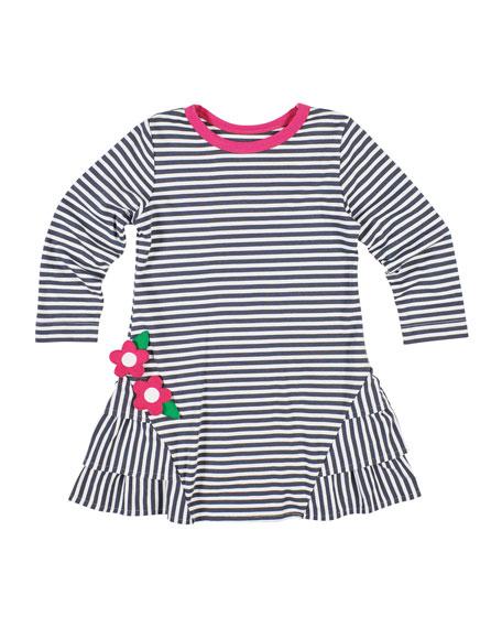 Florence Eiseman Stripe Knit Ruffle-Trim Dress, Size 2-6X