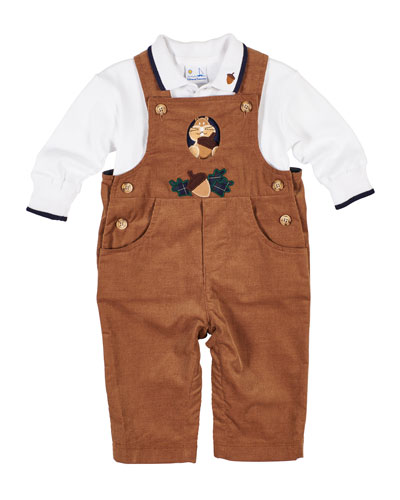 Corduroy Squirrel & Acorn Overalls w/ Long-Sleeve Polo Top, Size 6-18 Months