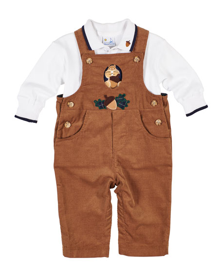 Florence Eiseman Corduroy Squirrel & Acorn Overalls w/ Long-Sleeve Polo Top, Size 6-18 Months