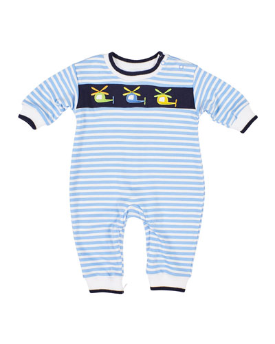 Stripe Knit Helicopter Embroidered Coverall  Size 3-24 Months