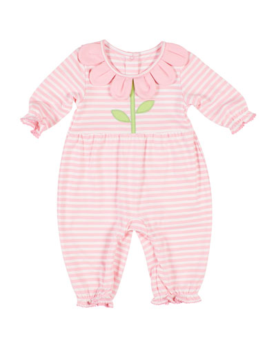 Stripe Knit Coverall w/ Flower Petal Collar, Size 3-24 Months