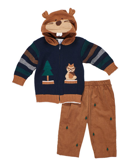 Florence Eiseman Hooded Zip-Up Squirrel Sweater w/ Tree Embroidered Pants, Size 2-4