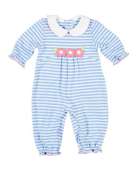 Florence Eiseman Stripe Knit Flower Applique Coverall, Size 3-24 Months