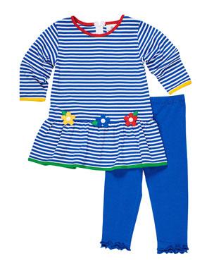 efffbba180491 Florence Eiseman Stripe Knit Flower Applique Dress w/ Ruffle Trim Leggings,  Size 12-