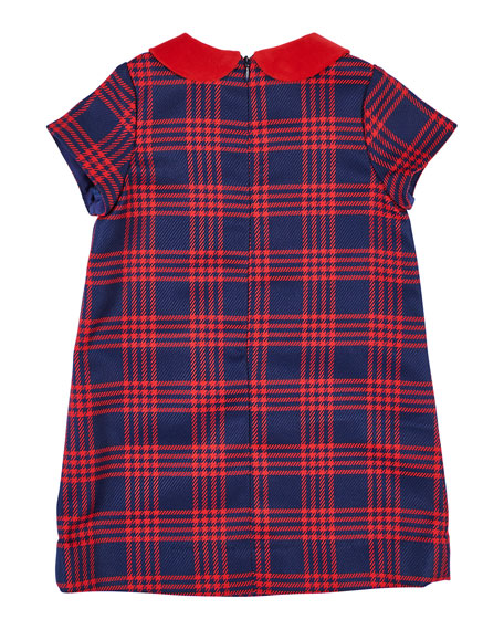 Florence Eiseman Houndstooth Plaid Dress w/ Velvet Trim, Size 7-10