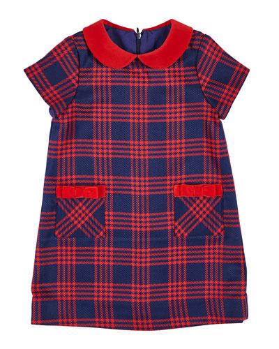 Houndstooth Plaid Dress w/ Velvet Trim  Size 7-10