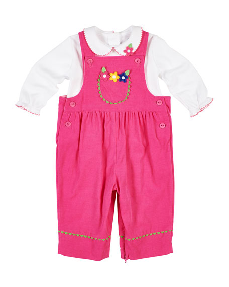 Florence Eiseman Corduroy Flower Overalls w/ Long-Sleeve Top, Size 6-24 Months