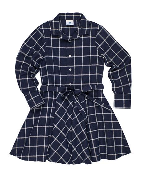 Florence Eiseman Long-Sleeve Plaid Shirt Dress, Size 7-14
