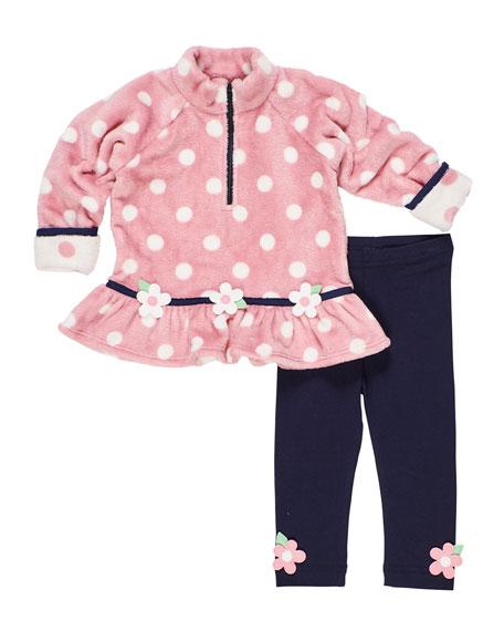 Florence Eiseman Plush Polka-Dot Fleece Top w/ Matching Leggings, Size 9-24 Months