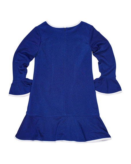 Florence Eiseman Bell-Sleeve Techno Crepe Dress, Size 7-14
