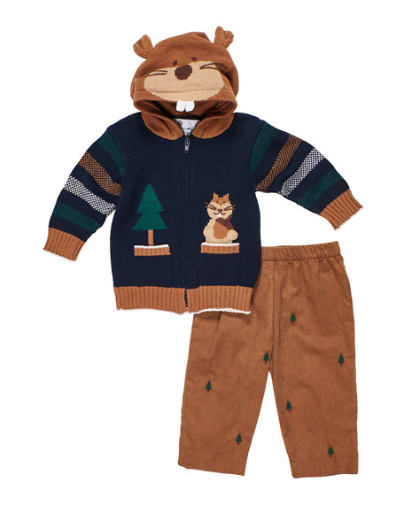 Florence Eiseman Hooded Zip-Up Squirrel Sweater w/ Tree Embroidered Pants, Size 12-24 Months