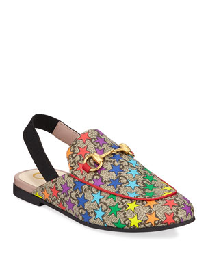 92904988dacd Gucci Princetown GG Supreme Rainbow Star-Print Horsebit Mule Slide, Toddler/ Kids. Favorite. Quick Look