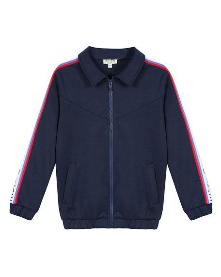 Kenzo Zip-Up Fleece Cardigan w/ Logo Taping Trim, Size 2-6