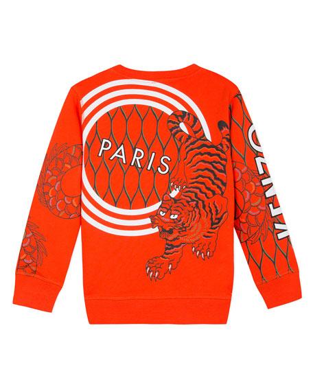 Kenzo Multi-Iconic Tiger & Dragon Graphic Sweatshirt, Size 2-6