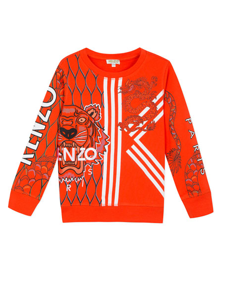 Kenzo Multi-Iconic Tiger & Dragon Graphic Sweatshirt, Size 2-6