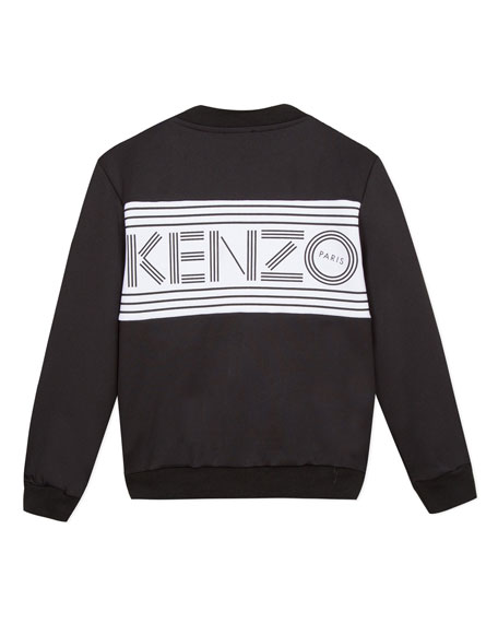 Kenzo Logo Zip-Up Fleece Cardigan, Size 8-12