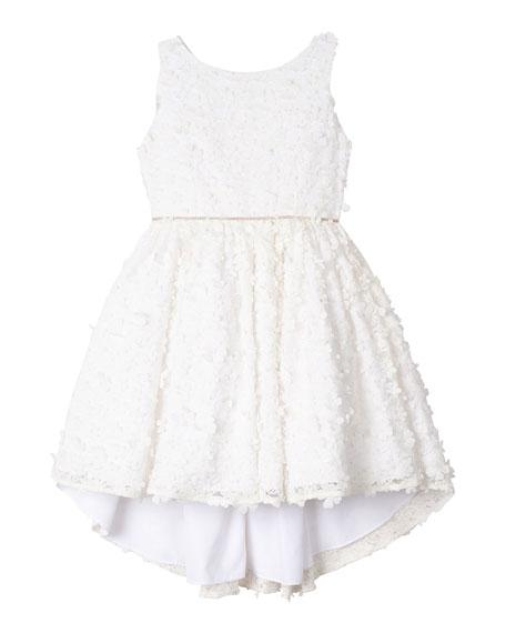 Badgley Mischka Kid's Flower Lace High-Low Dress, Size 7-16