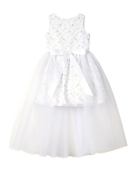 Badgley Mischka Kid's Short Lace Dress w/ Open Tulle Front Overlay, Size 7-16