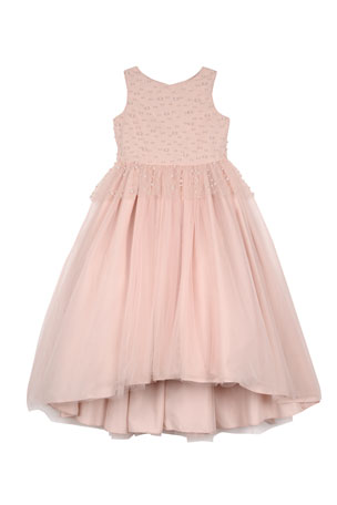 Badgley Mischka Kid's Peplum High-Low Maxi Dress w/ Pearly Bead Trim, Size 7-16