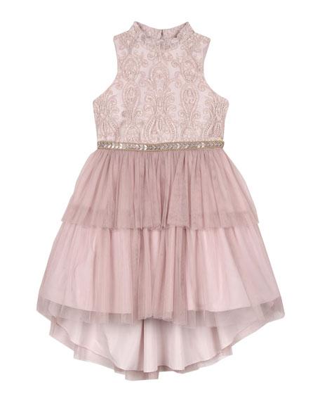 Badgley Mischka Kid's Embroidered Two-Tier Tutu Dress, Size 4-6X