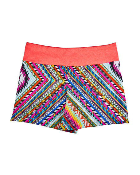 Girl Power Sport Zigzag Print Athletic Fit Shorts, Size 6-12