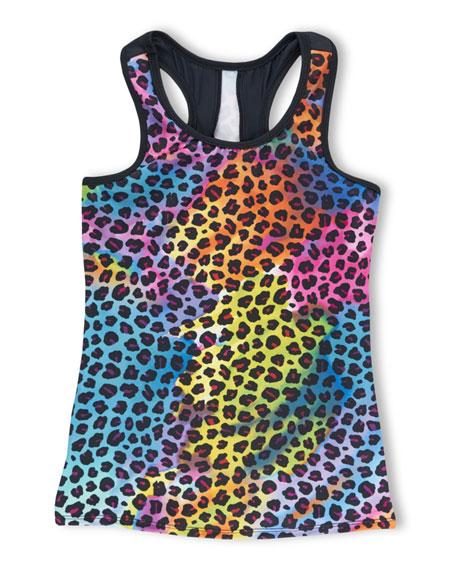Girl Power Sport Rainbow Leopard Print Tank Top, Size 6-12