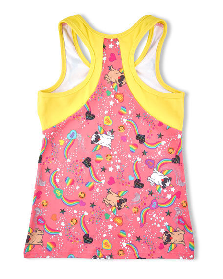 Girl Power Sport Pugicorn Print Active Tank Top, Size 6-12