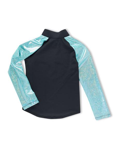 Girl Power Sport Active Zip-Up Jacket w/ Sparkly Metallic Sleeves, Size 6-12