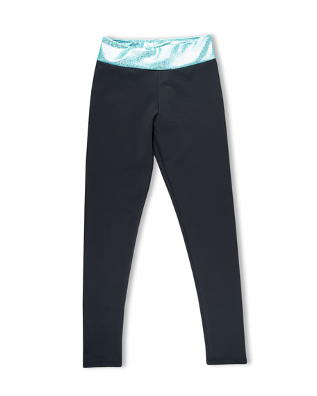 Girl Power Sport Active Leggings w/ Sparkly Waistband, Size XS-L