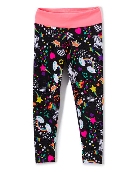 Girl Power Sport Unicorn Print Active Leggings, Size XS-XL