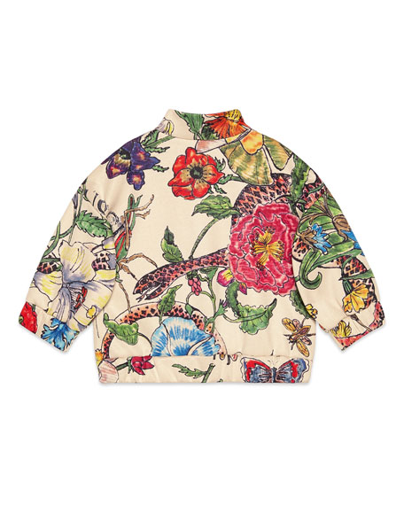 Gucci Floral Zip-Up Sweatshirt w/ Tiger Patches, Size 6-36 Months