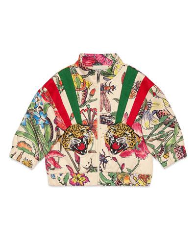 Floral Zip-Up Sweatshirt w/ Tiger Patches  Size 6-36 Months