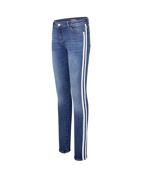 DL1961 Premium Denim Girl's Chloe Skinny Denim Jeans w/ Varsity Striping, Size 7-16
