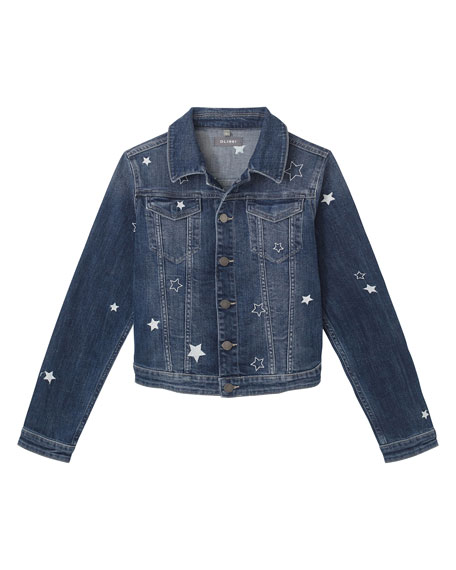 DL1961 Premium Denim Girl's Manning Star Embroidered Denim Jacket, Size S-L