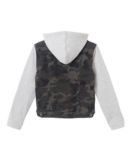 DL1961 Premium Denim Boy's Manning Camo Jacket w/ Jersey Hood & Sleeves, Size S-L