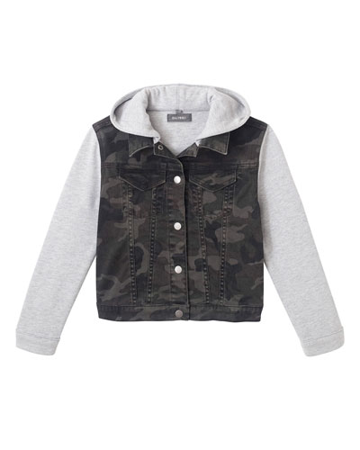 Boy's Manning Camo Jacket w/ Jersey Hood & Sleeves  Size S-L