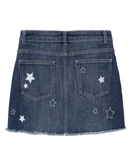 DL1961 Premium Denim Girl's Jenny Star Embroidered Denim Skirt, Size 7-16