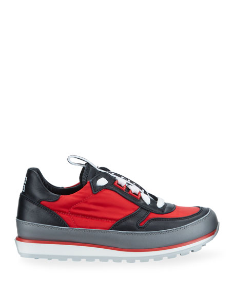 Givenchy Boy's Colorblock Mixed Materials Logo Sneakers, Toddler/Kids