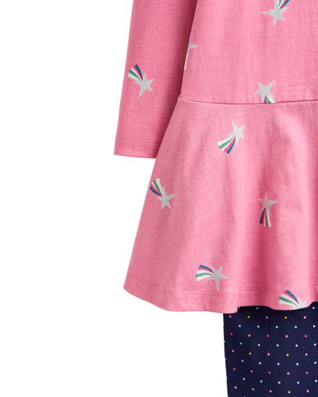 Joules Iona Shooting Star Print Dress w/ Matching Leggings, Size 2-6