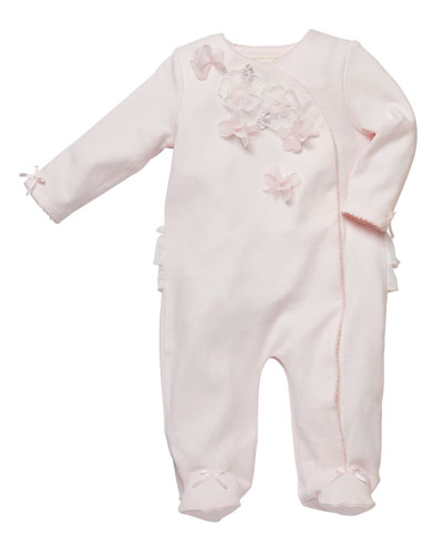 3D Flower Trim Footed Coverall  Size 3-9 Months