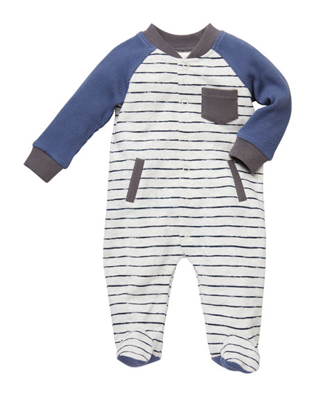 Miniclasix Striped Baseball-Sleeve Coverall Footie, Size 3-9 Months