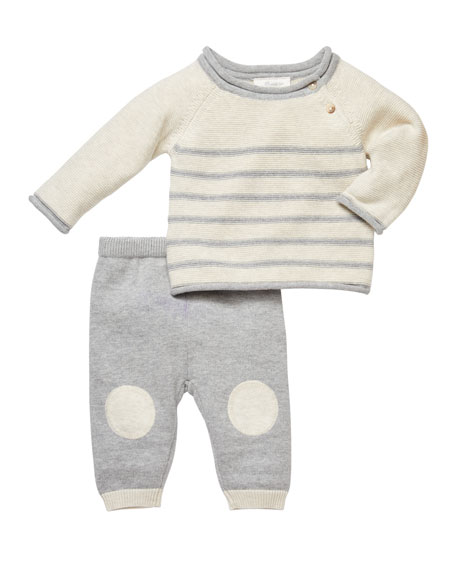 Miniclasix Striped Sweater w/ Knee-Patched Pants, Size 3-9 Months