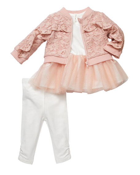 Miniclasix Tutu Top and Lace Bomber Jacket w/ Leggings, Size 3-9 Months