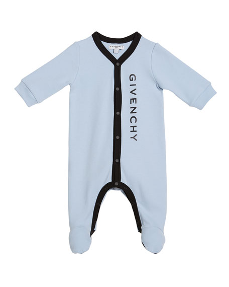 Givenchy Logo Footie Pajamas, Size 1-9 Months