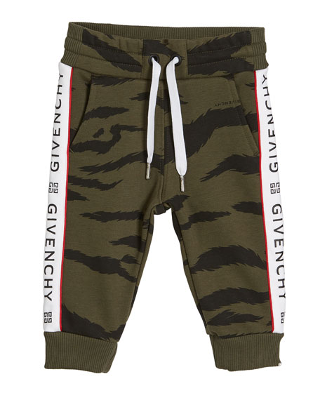Givenchy Boy's Camo Sweatpants w/ Logo Taping, Size 12M-3