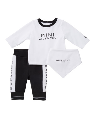 Logo Long-Sleeve Tee Pant & Bib 3-Piece Layette Set  Size 3-18 Months