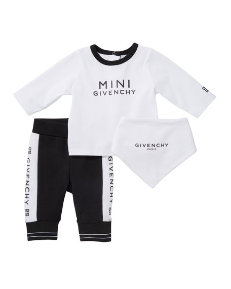 Givenchy Logo Long-Sleeve Tee Pant & Bib 3-Piece Layette Set, Size 3-18 Months