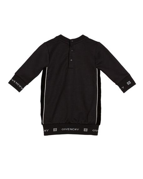 Givenchy Girl's Long-Sleeve Dress w/ 4-G Logo Ribbed Trim, Size 2-3