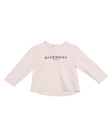 Givenchy Girl's Long-Sleeve Logo Tee, Size 12M-3